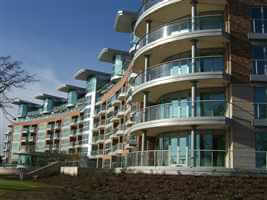 Side view of Trent Park with Silver aerofoil curved and straight balconies