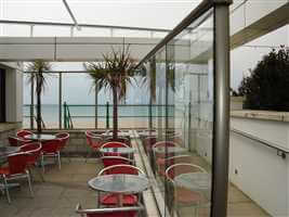 Royal Chrome balustrade in a restaurant on the coast