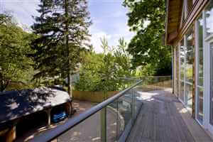 Long balustrade with silver handrail in a pretty woodland setting