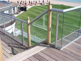 Silver Balustrade overlooking mowed lawns and the beach