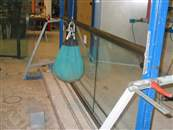Balcony Systems' mock up bal1/bal2 systems under go load/ deflection tests in Sandberg's Metallurgy Structures Laboratory