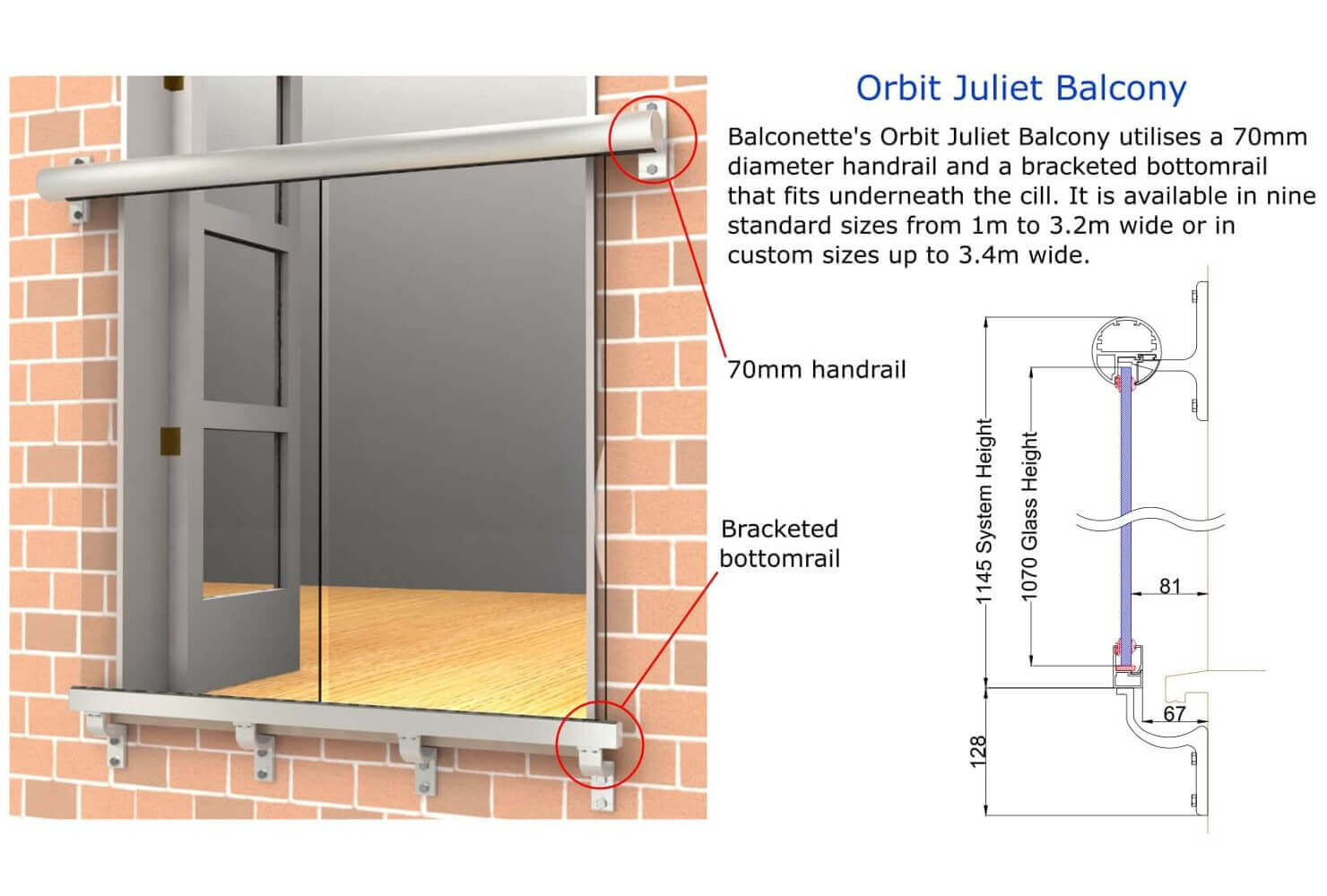Juliet balcony glass juliette balconies balcony systems for Balcony dimensions