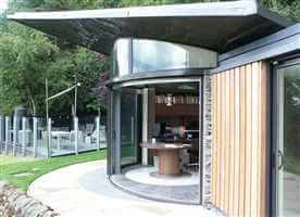 3 door Curved Glass Sliding Doors