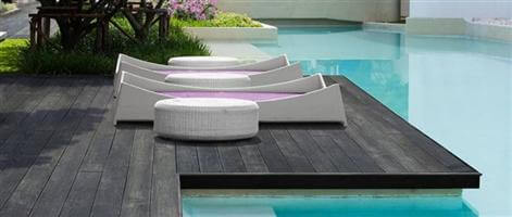 composite decking by the pool