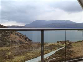 Stunning Scottish view through a clear glass Royal Chrome handrailed balcony