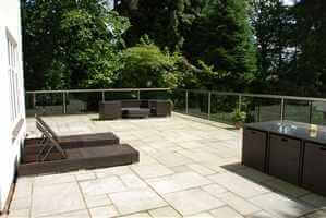 Large balcony with bal 1 Royal Chrome Glass Balustrade