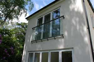 Glass Juliet Balcony on house in Surrey