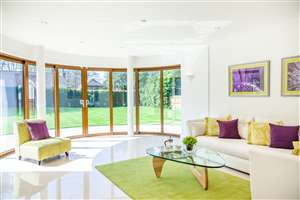 Curved Glass Sliding Doors with garden views