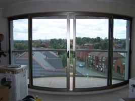 concave curved doors and convex curved balcony Oldham Lancashire