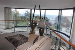 curved glass doors add view