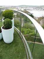 Royal Chrome aerofoil curved balcony over looking beautiful Isle of Man
