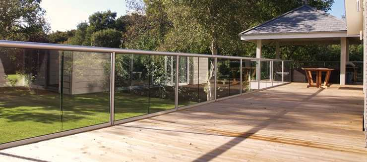 Glass Balustrade with silver handrail