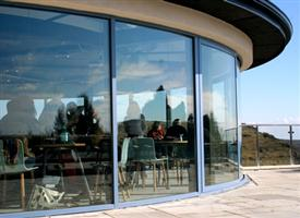 large restaurant curved glass doors