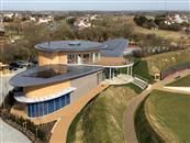 Beautiful building overlooking the English Channel in Kent designed with similarities of the Spitfire.