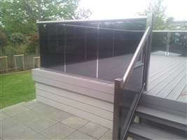Tinted glass Royal Chrome balustrade with Composite Decking