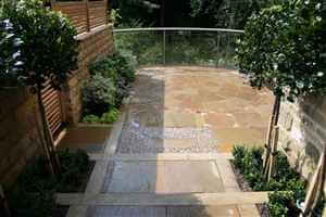 Balcony 1 bronze curved balustrade with detailed patio, plants, flowers and garden