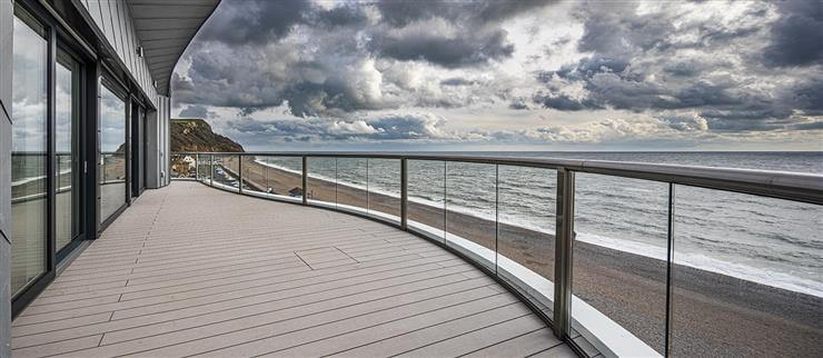 Stunning curved Orbit balustrade, with beautiful sky