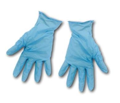 Nitrile gloves for protection when using nanotechnology self-cleaning glass coating