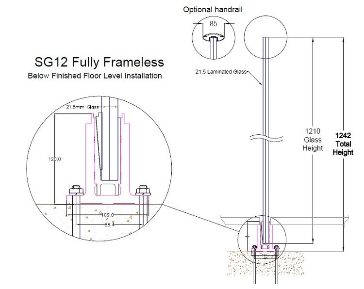SG12 frameless glass balustrade section BFFL