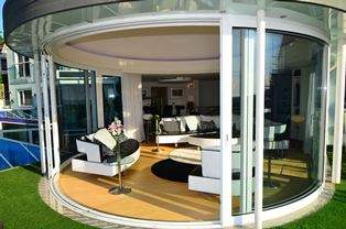 Curved Sliding Doors open