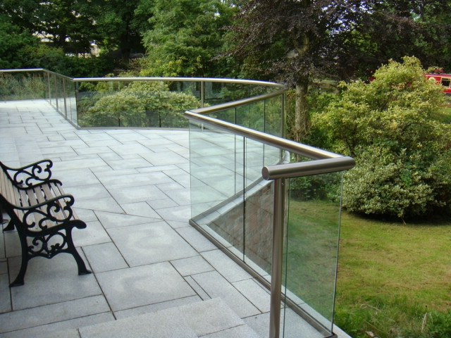 handrail glass and posts balustrade