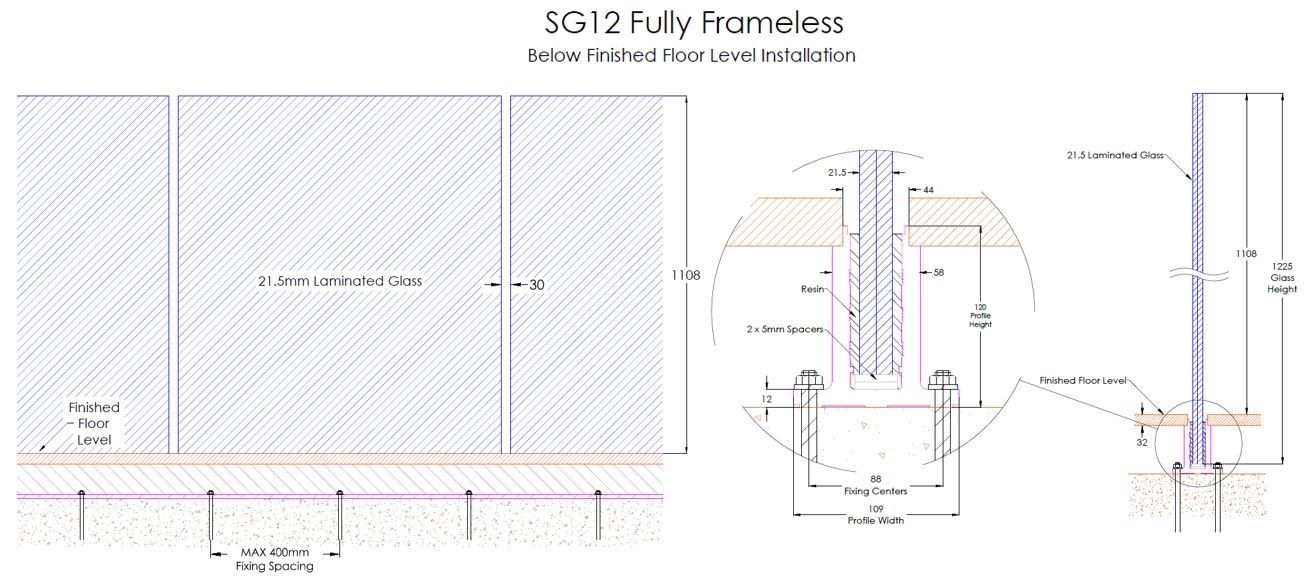 SG12 Fully Frameless Below Finished Floor Level Installation Drawing