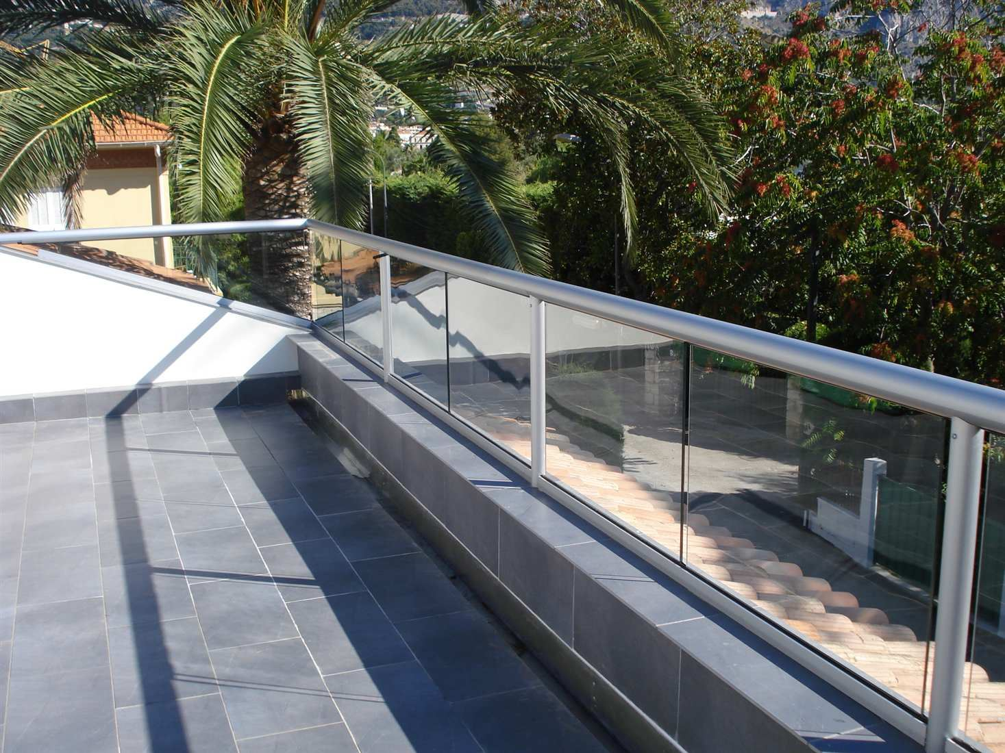 Silver Orbit Glass Balustrade looking over a sunny garden with a palm tree