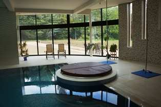 Curved Glass Sliding Doors in pool room