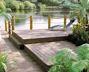 Plastic decking boards for use in wetland areas