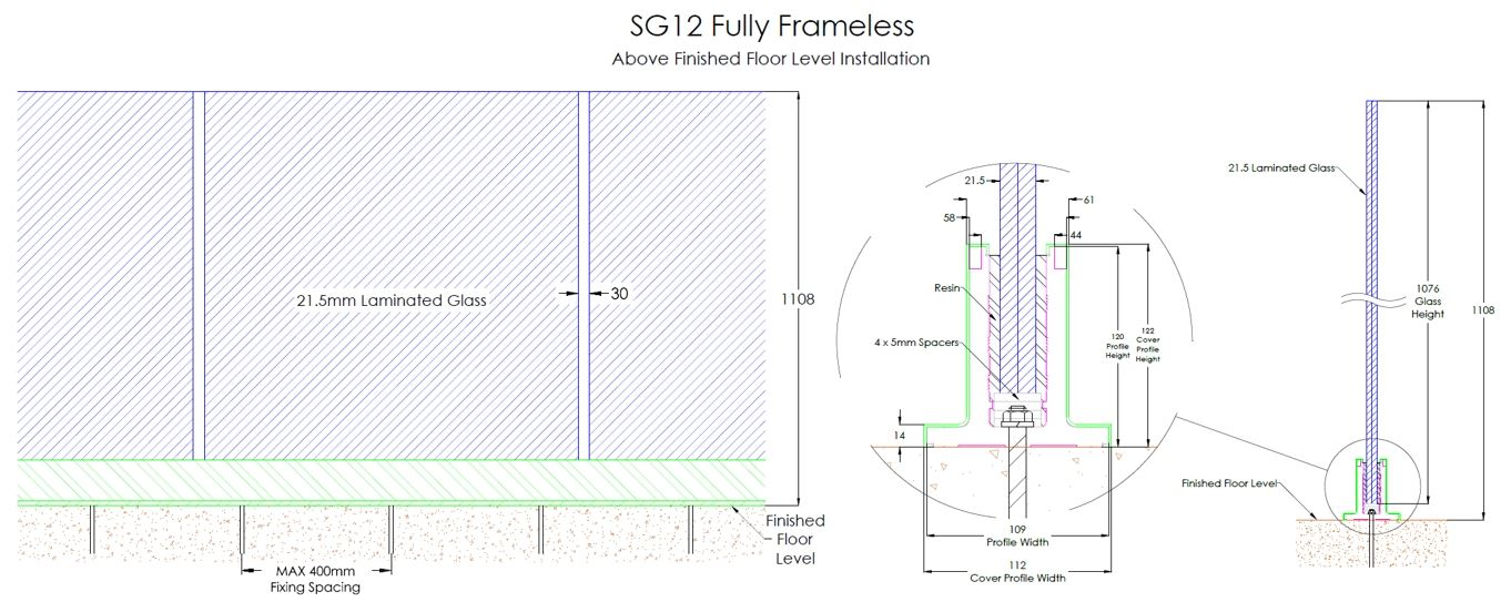 View Specifications Details Of Glass: Frameless Glass Balustrades - Above Floor Level