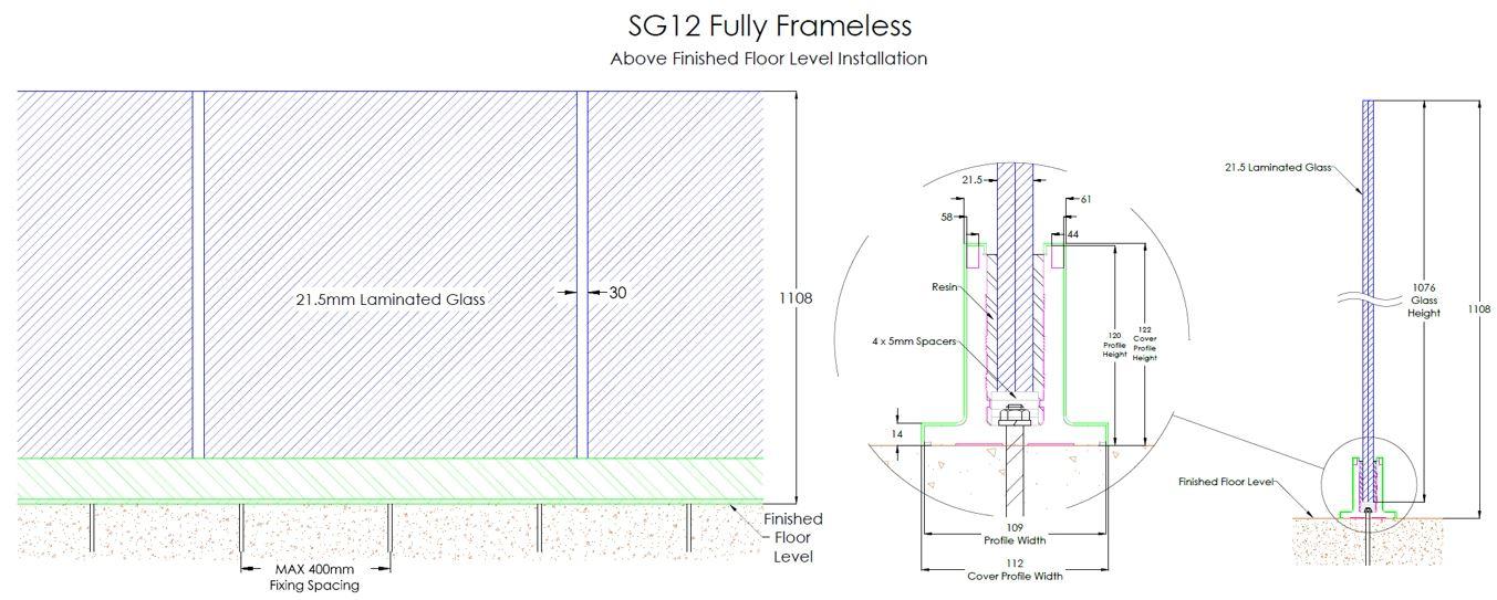 Frameless Glass Balustrades Above Floor Level Glass