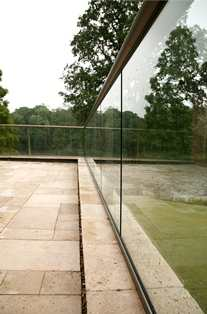 A side on view of clean glass balustrading with self-cleaning glass coating