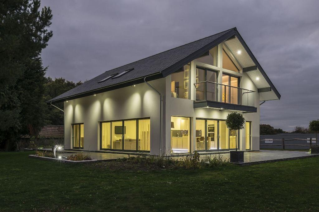 glass balconies design for scandia hus show home. Black Bedroom Furniture Sets. Home Design Ideas