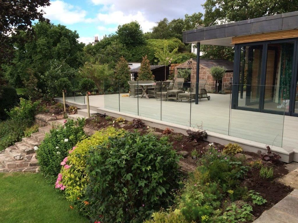 An elegant frameless 10 metre-long balustrade installed at a fine Victorian property in Merseyside
