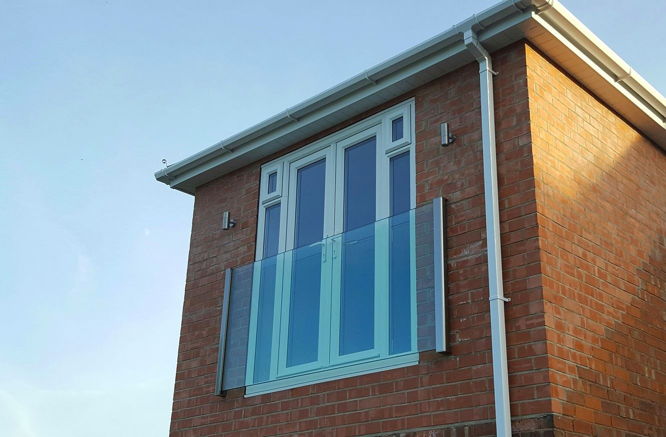 Frameless Juliet Balcony 2180mm wide in Royal Chrome - scotland
