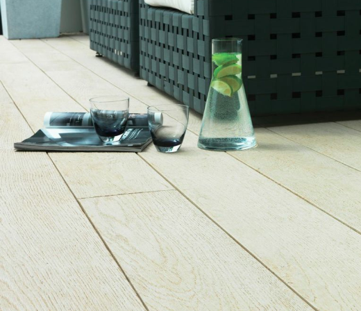 Composite Decking example of Limed Oak with several composite decking colours available
