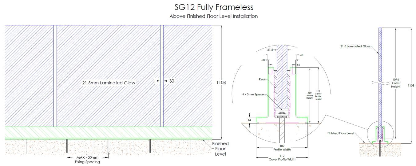 SG12 Fully Frameless Above Finished Floor Level Installation Drawing