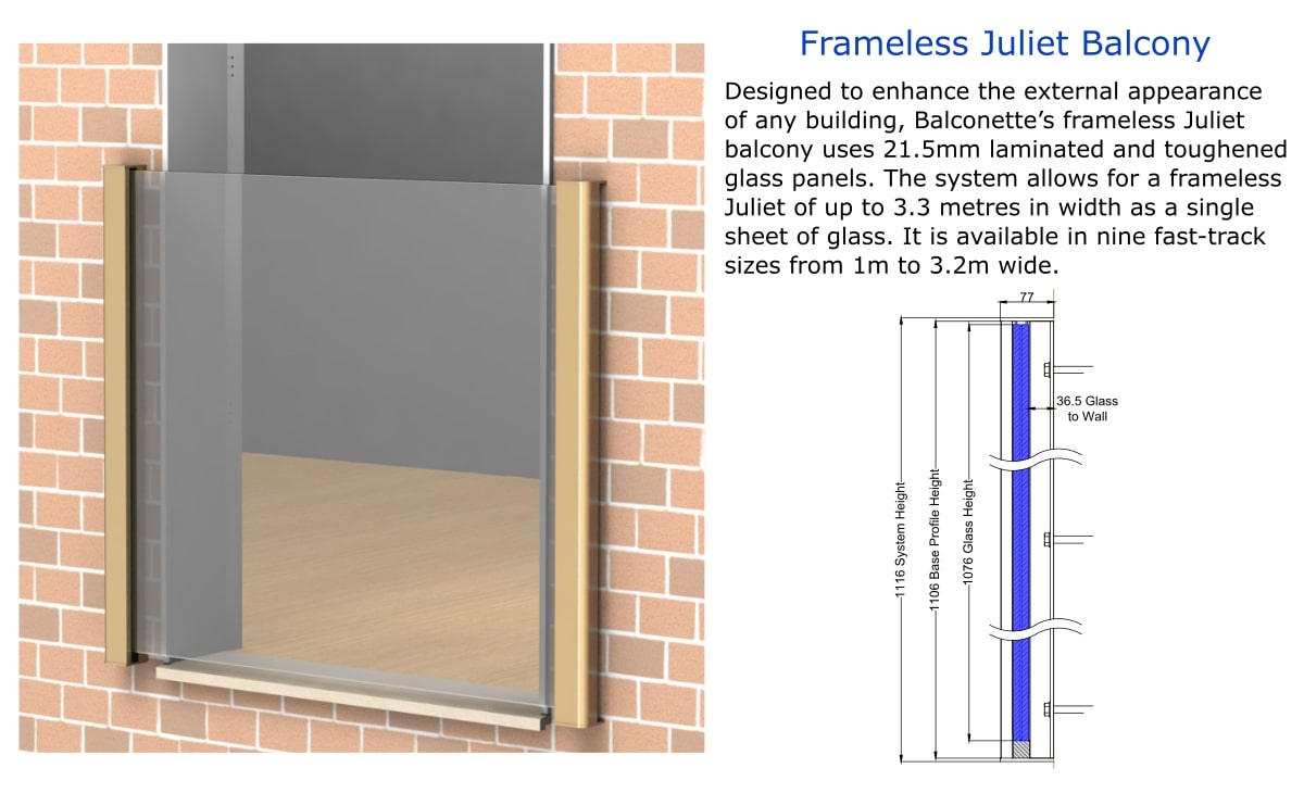 frameless glass juliet balcony texhnical drawings