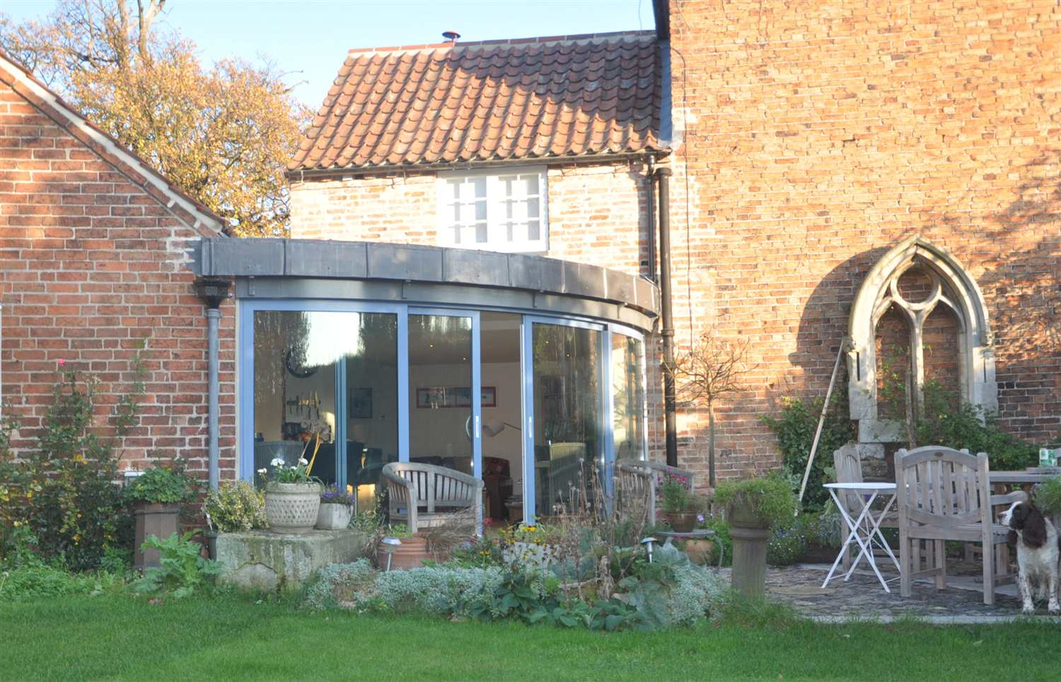 curved glass Sliding Doors on old house