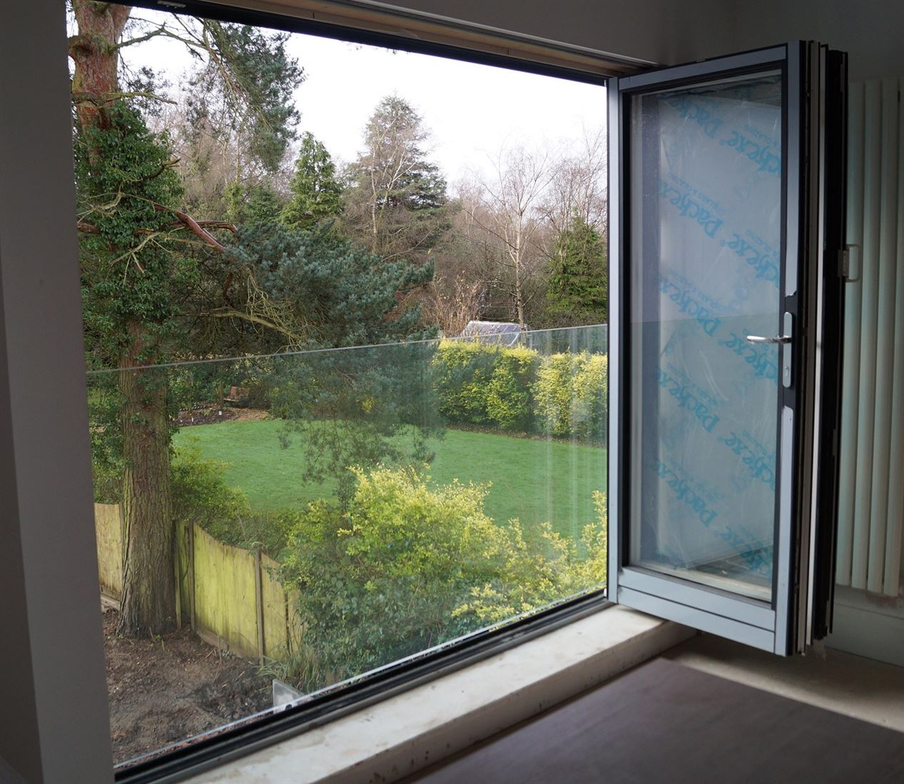 Frameless Juliet Balcony 2800mm wide in Royal Chrome