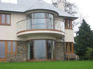 Curved Patio Doors with curved balustrade