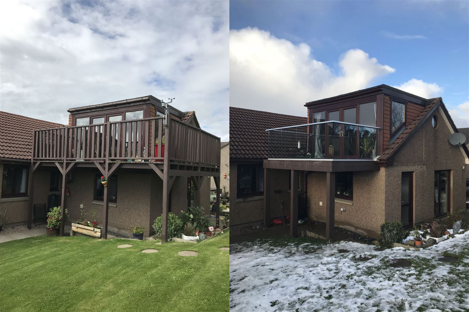 Before and after glass balustrade