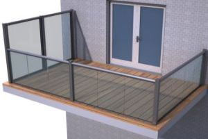 The privacy screen system can also be combined with the regular Balcony 1 system using the 55mm posts