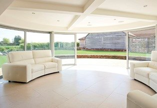 Curved Glass Sliding Patio doors open