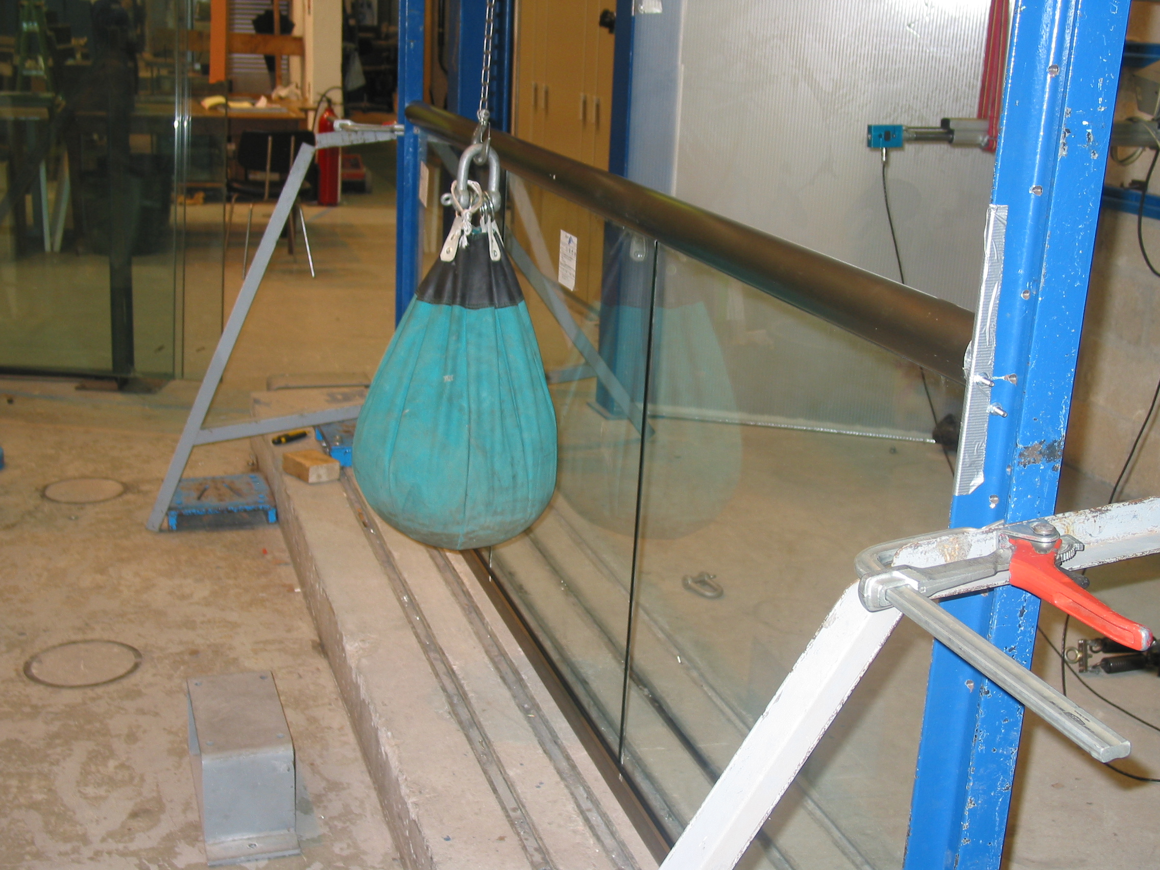 Impact testing on the glass and balustrade