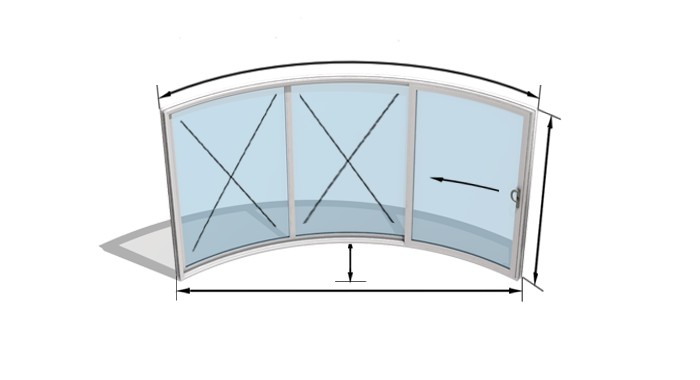 W3-2F - 3 Doors, One sliding, two fixed