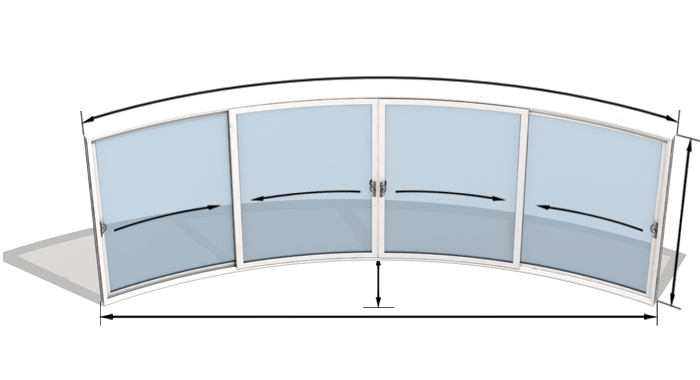 Curved glass doors model w4 curved sliding doors curved patio doors w4 4 doors sliding on two rails planetlyrics Image collections