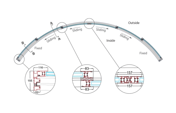 Sliding Glass Door Plan six sectioned curved patio doors model w6-4f | fixed and sliding