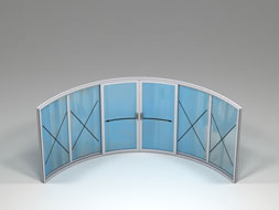 Curved Glass Sliding Doors - W6-4F
